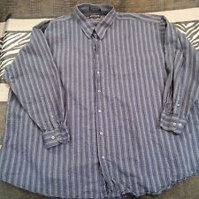 After Dark Shirt  Shirt Size 4XLT Button Front Long Sleeve Blue White Striped