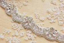 Ritaglio da sposa strass perla con Perline Nastro APPLIQUE Abito da Sposa Diamante Catena