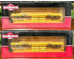 TWO HO Scale InterMountain 60' Wood Deck Flat Cars TTX OTTX NEW
