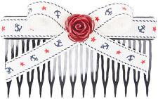 Vintage MILLY Sailor ANCHOR Ribbon Bow ROSE Hair Comb HAARKAMM Rockabilly