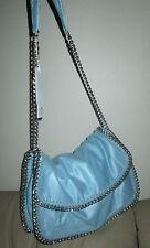 GESIA Shoulder Bag Purse 'Leather Look' BABY BLUE/ Silver Tone Wrap Chain HOA