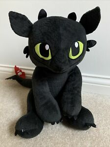 """Build a Bear How to Train Your Dragon Black Toothless Plush Sits 14"""" Stuffed"""