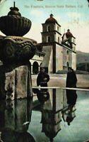 Priests At The Fountain Mission Santa Barbara California CA Vintage Postcard