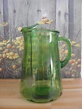 Vintage Green Glass Pitcher Ice Lip Textured Glass 64 oz.