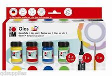Marabu Peinture verre decoglass Box Set 4 x15ml paint outliner brosse base d'eau