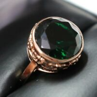 Carved 5 Ct Green Emerald Round Ring Engagement Wedding Gift Size 8 18K Plated