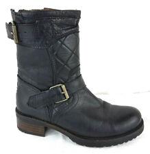Amy Huberman Bourbon Black Leather biker Ankle boots Size 4 EU 37 Ladies Good