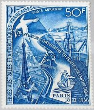 TAAF FSAT 1969 Maury Air 18 49 C17 Handel Treaty Conf Eiffel Tower Ship MNH