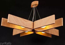 Hanging lamp with natural wood texture, made of bent plywood 46x46 inches Modern