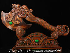 15'' Old Boxwood Mosaic Gem Carving Arms ax Hatchet Statue