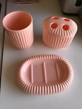 Vintage Creative Bath Products Pink Plastic Vanity Set
