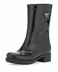 PRADA Black Linea Rossa Glossy Logo Rubber Calf Ankle Flat Rain Boot Shoe 37/7