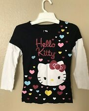 HELLO KITTY NWT Girls White Glitter Graphic Tee Top Shirt Logo 4 4T 6 6X LS