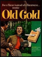 1949 OLD GOLD Cigarettes - Sexy Woman - College Kids Smoking VINTAGE AD