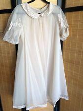 Vintage Shadowline Beige Double Chiffon Peignoir Robe Appliqué Bust 40 Sissy