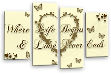 Large Cream Brown Gold Love Heart Canvas Picture Wall Art Split Multi 4 Panel