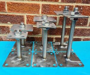 STAINLESS STEEL HEAVY DUTY ELEVATED ADJUSTABLE BOLT DOWN POST FITTING SUPPORT