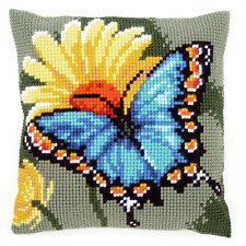 Vervaco - Cross Stitch Cushion Front Kit - Butterfly & Yellow Flower PN-0156041