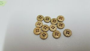 0026 Buttons For Sewing/Craft 12 pcs  new gold flat 10mm 4 hole