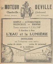Z9799 Moteur DEVILLE -  Pubblicità d'epoca - 1923 Old advertising