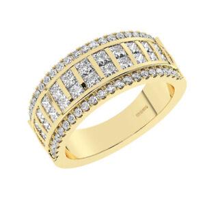 1.40Ct Round Brilliant & Princess Cut Diamond Half Eternity Ring 18K Yellow Gold