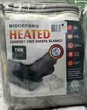 Biddeford heated Comfort Knit Sherpa Blanket GREY