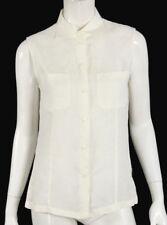 LORO PIANA White Linen Sleeveless Button Front Blouse 42