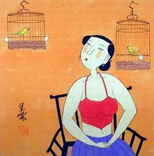 Oriental Chinese Painting Ink Figures Art-Sexy Beauty Lady Two Birds MN08 13x13""