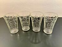 "Set of 4 Vintage Clear Etched Juice Glasses Grapes 3"" tall"