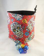Red Sugar cráneos dado Bolsa-Cuadrado Base-Reversible Con Cordón-azulejo bolsa D&D