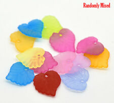 300 Small Frosted Acrylic LEAF Charm Beads mixed colors bac0109
