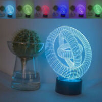 Concept Circle Round 3D LED Night Light Touch Table Desk Lamp Gift 7 Colour