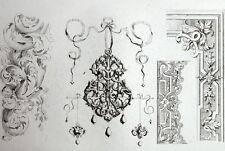 Decoración adornos Cintas arquitectura grabado Riester Clerget 19e
