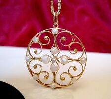 """14K YELLOW GOLD FILIGREE PEARL AND DIAMOND ROUND PENDANT NECKLACE 18"""" LONG"""