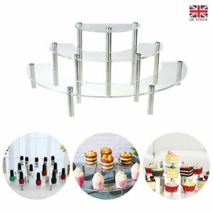 3layer Party Cosmetic Acrylic Decor Rack Round Dessert Cake Display Stand Holder