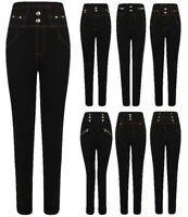 Ladies High Waist Stretch Leggings Jeggings Trousers One Size Jeans New Comfort