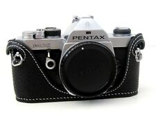 Leather Half Case for Pentax MX - Black with White Stitching  - BRAND NEW