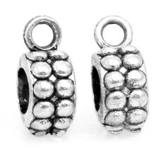 50x Vintage Silver Tone O Shape Alloy Loop Charms Beads Fit European Bracelet D