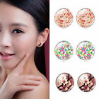 NEW 1 Pair Flower Cabochon Ear Stud Earrings Women jewelry Gift Silver Plated