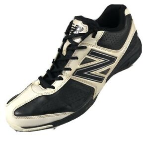 $110 New Balance Men's Size 9M Black and White Lace Up Athletic Baseball Cleats