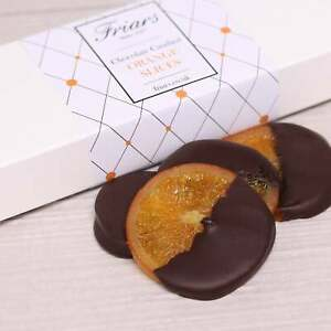 Friars Chocolate Candied Orange Slices Half Dipped Dark Chocolate Fruit Gift Box