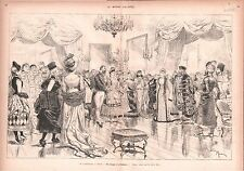CARNAVAL CARNIVAL NICE BAL À LA PREFECRURE FRANCE ANTIQUE PRINT GRAVURE 1883