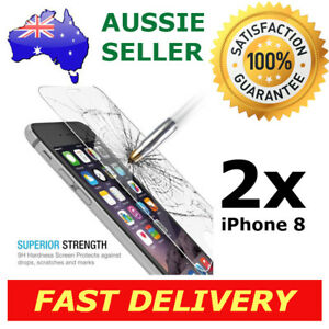 2x iPhone 8 Glass Screen Protector 9H Premium Tempered Shatter Proof Apple