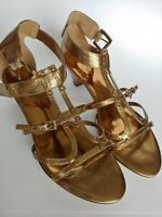 Nine West Gold Leather Strappy Sandals Women's Shoes Size 7 M