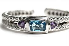Judith Ripka 925 Sterling Silver Topaz & Amethyst Hinged Cuff Bracelet