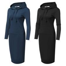 Damen Langarm Kapuzen Bodycon Solide Kapuzenkleid Kleid mit Taschen GRHA 03
