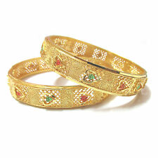Rabbi Gold-plated 2pc Rose Net Bangles Set kada bracelet  (size 2.8)