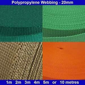 Polypropylene Webbing - 20mm - Green, Khaki, Orange, Dark Green