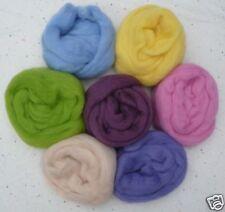 "7 colors Dark Pastel Wool roving ~ 50""ea Spring Easter spin felt needle wet soap"