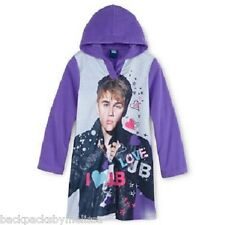 Justin BIEBER Hooded Purple Nightgown PAJAMAS Girl's 12 NeW Soft Fleece Pjs Gown